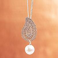 Cultured pearl pendant necklace, 'Glowing Paisley' - Cultured Pearl Paisley Pendant Necklace from Mexico