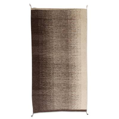 Zigzag Zapotec Wool Area Rug in Brown from Mexico (2x3)