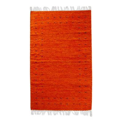 Zapotec wool area rug, 'Sun of Summer' (2.5x5) - Zapotec Wool Area Rug in Red and Orange from Mexico (2.5x5)