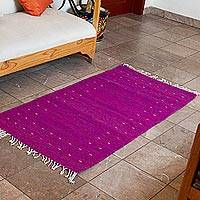 Zapotec wool area rug, 'Flowers of Spring' (2.5x4.5) - Magenta and Lapis Zapotec Wool Area Rug (2.5x4.5)