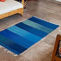 Zapotec wool area rug, 'Eternal Sky' (2.5x4.5) - Zapotec Wool Area Rug in Blue from Mexico (2.5x4.5)