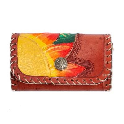 Floral Leather Coin Purse in Burnt Orange from Mexico