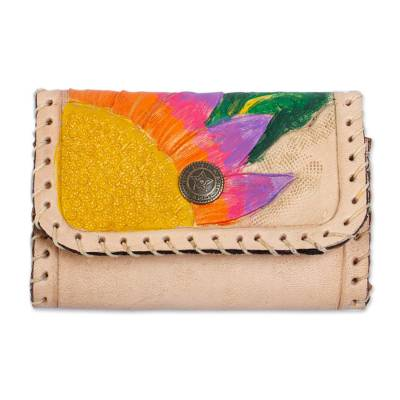 Painted Floral Leather Coin Purse in Ecru from Mexico