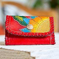 Leather coin purse, 'Vibrant Petals' - Painted Floral Leather Coin Purse in Paprika from Mexico