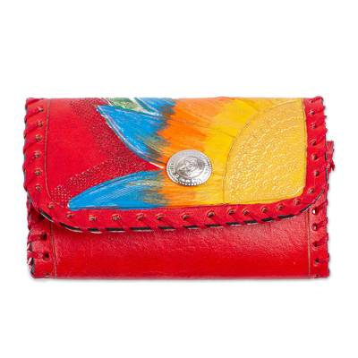 Painted Floral Leather Coin Purse in Paprika from Mexico
