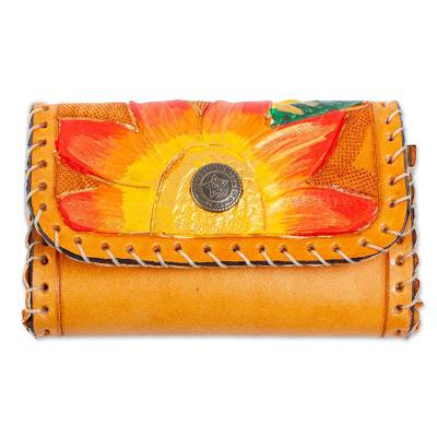 Painted Floral Leather Coin Purse in Saffron from Mexico