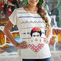 Cotton blouse, 'Forever Frida' - Alabaster Cotton Blouse with Frida Kahlo Embroidery