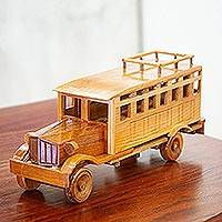 Wood home accent, 'Guajolotero' - Handmade Wood Mexican Passenger Bus Home Accent