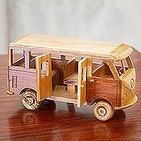 Wood home accent, 'Combie' - Whimsical Wood Combie Van Sculpture