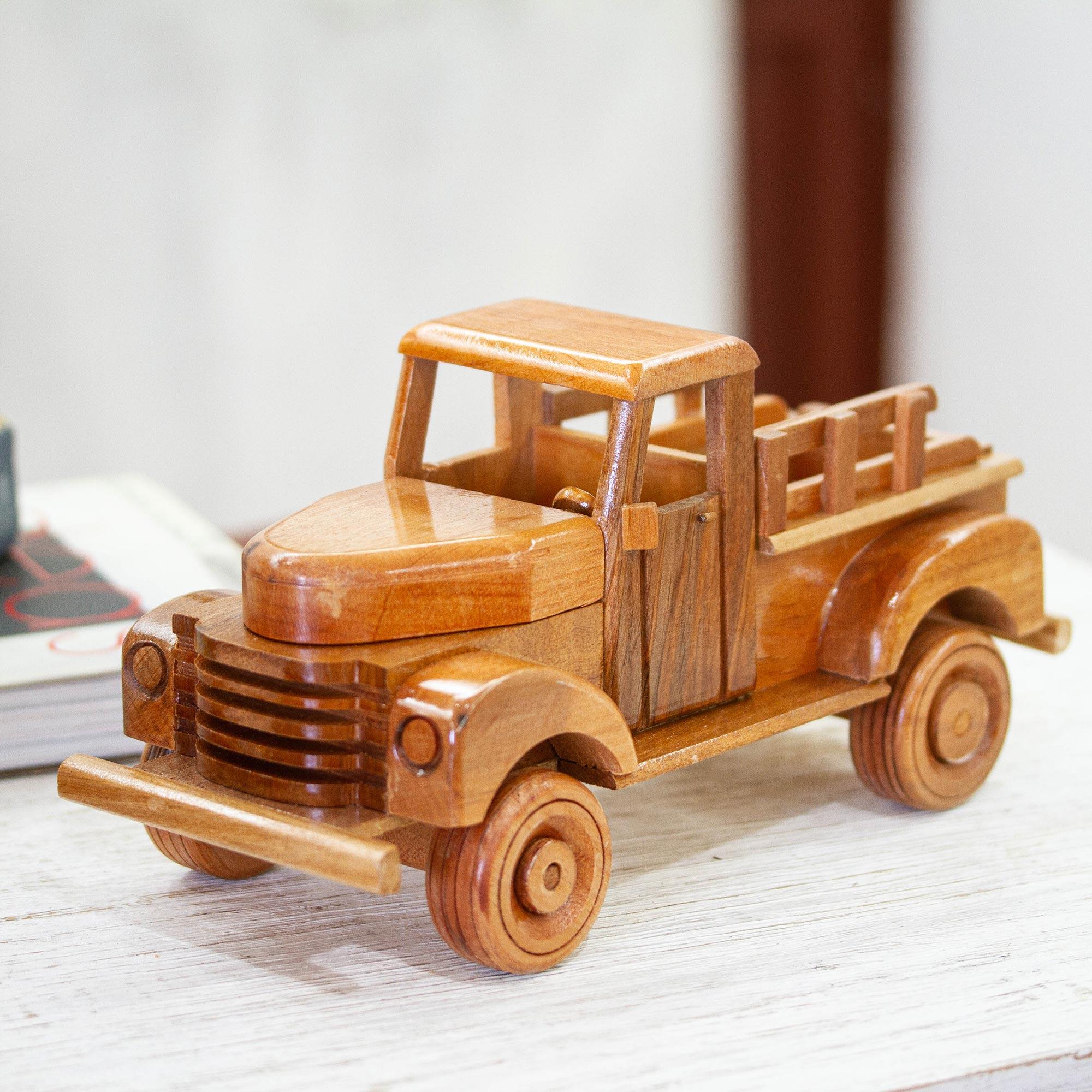 Nostalgic Wood Chevy Apache Pickup Truck Sculpture Vintage Pickup Truck Novica
