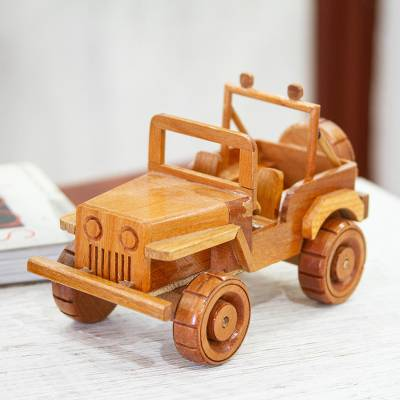 Wood home accent, 'Old Jeep' - Old Jeep Wood Home Accent Made in Mexico