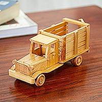 Wood home accent, 'Vintage Stakebed Truck' - Handcrafted Wood Vintage Stakebed Truck Home Accent