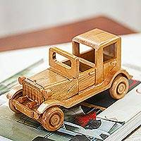 Wood home accent, 'Carcachita' - Old Jalopy Car Wood Home Accent from Mexico