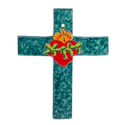 Signed Colorful Ceramic Wall Cross from Mexico