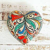Ceramic jewelry box, 'Flourishing Heart' - Handmade Heart Shaped Ceramic Jewelry Box