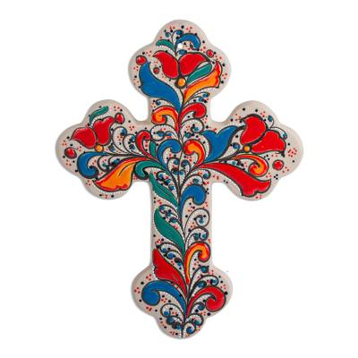 Handmade Ceramic Wall Cross with Colorful Motifs (11 Inch)