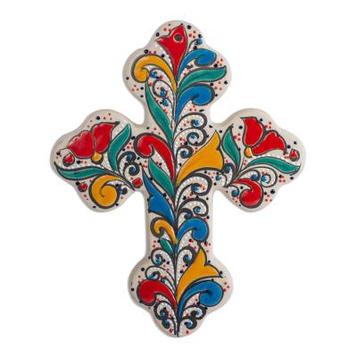 Handmade Ceramic Wall Cross with Colorful Motifs (8 Inch)