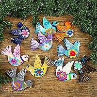 Aluminum decorative garland, 'Festive Doves' - Handcrafted Hand Painted Garland of Floral Mexican Birds