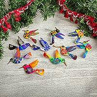 Aluminum decorative garland, 'Hovering Hummingbirds' - Hand Painted Garland of Mexican Hummingbirds