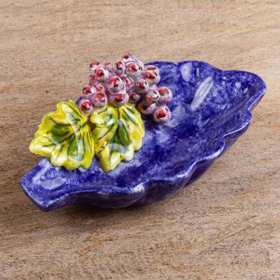 Ceramic snack bowl, 'Vineyard Fruit' - Hand Crafted Ceramic Snack Bowl from Mexico