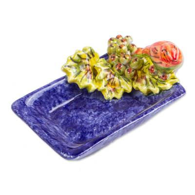 Bird and Grape Themed Ceramic Candy or Snack Bowl