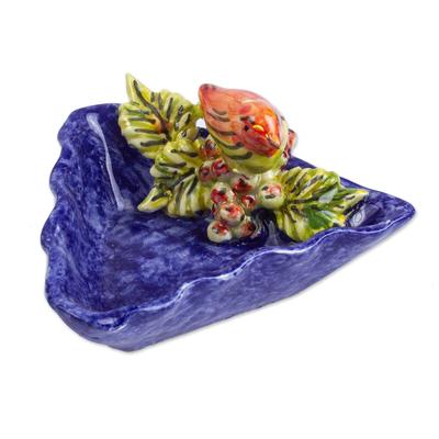Bird and Grape Themed Ceramic Snack Dish