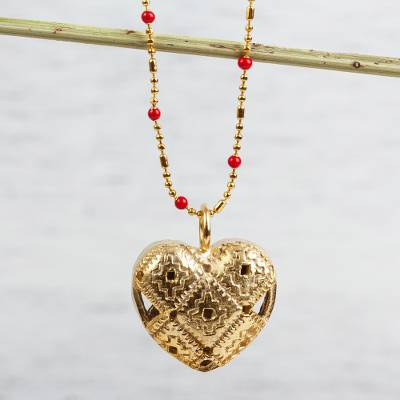 Gold plated glass beaded pendant necklace, 'Chakana Heart' - Gold Plated Glass Beaded Chakana Heart Pendant Necklace