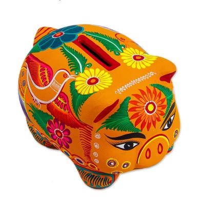 Ceramic bank, 'Fiesta Piggy' - Colorful Hand Painted Small Piggy Bank