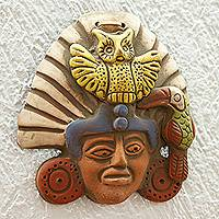 Ceramic wall plaque, 'Owl Warrior'