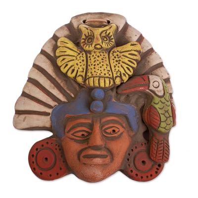 Ceramic wall plaque, 'Owl Warrior' - Oaxacan Clay Wall Plaque of Owl Warrior