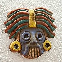 Ceramic wall plaque, 'He Who Makes Things Sprout' - Tlaloc Aztec God Ceramic Wall Mask Plaque
