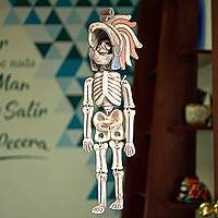 Ceramic sculpture, 'Eagle Skeleton Warrior' - Handcrafted Ceramic Hanging Sculpture Eagle Warrior Skeleton