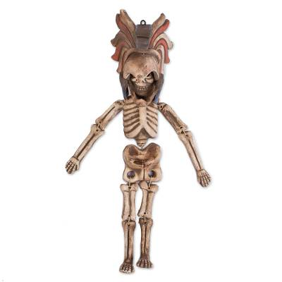 Handcrafted Ceramic Hanging Sculpture Eagle Warrior Skeleton