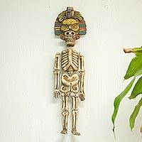 Ceramic sculpture, 'Owl Leader' - Handcrafted Ceramic Hanging Sculpture Owl Noble Skeleton