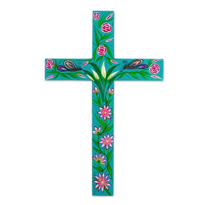 Wood cross, 'Gethsemane Roses' - Hand Painted Turquoise Wood Cross from Mexico