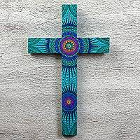 Wood cross, 'Radiant Faith' - Zapotec Art Inspired Hand Painted Turquoise Wood Cross