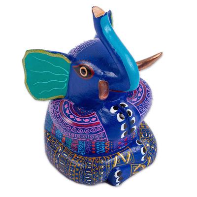 Wood alebrije figurine, 'Lotus Elephant' - Elephant Alebrije Figurine in Lotus Position