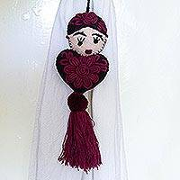Wool decor accent, 'Frida's Burgundy Heart' - Embroidered Frida Kahlo Wool Ornament from Mexico