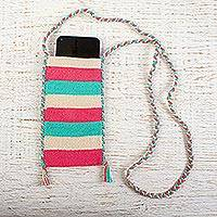 Cotton cell phone bag, 'Summer Parfait' - Cotton Crochet Pink Turquoise Beige Cell Phone Bag
