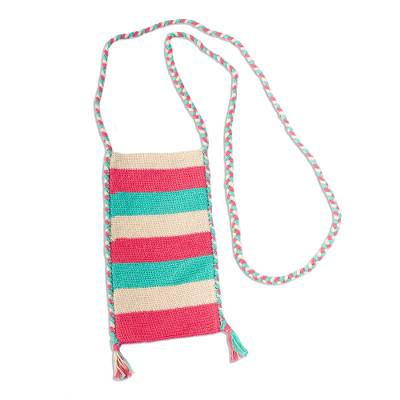 Cotton Crochet Pink Turquoise Beige Cell Phone Bag
