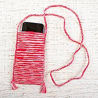 Cotton cell phone bag, 'Raspberry Sundae' - Cotton Crochet Variegated Rose and White Cell Phone Bag