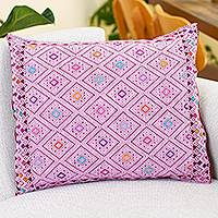 Cotton cushion cover, 'Highland Hills' - Handwoven Burgundy Cushion Cover with Lilac Brocade