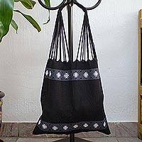 Cotton shoulder bag, 'Ebony Brocade' - Handwoven Black Cotton Mexican Morral Tote