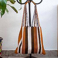 Cotton shoulder bag, 'Caramel Stripes' - Handwoven Striped Brown Cotton Mexican Morral Tote