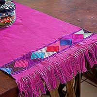 Cotton table runner, 'Colorful Diamonds' - Handwoven Diamond Brocade Purple Cotton Table Runner