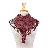 Cotton scarf, 'Maya Rosewood' - Backstrap Loom Handwoven Brown and Mulberry Cotton Scarf