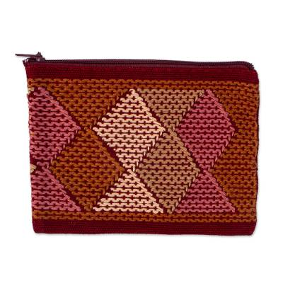 Handwoven Beige and Brown Cotton Coin Purse from Mexico