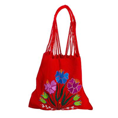 Bright Embroidered Handwoven Red Cotton Mexican Morral Tote