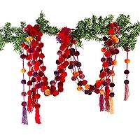 Cotton garlands, 'Spicy Colors' (set of 10) - 10 Handcrafted Cotton Garlands in Burgundy-Red-Purple