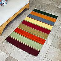 Zapotec wool rug, 'Oaxaca Rainbow' (2.5x4.5) - Handwoven Zapotec Wool Rug in Colorful Stripes (2.5x4.5)